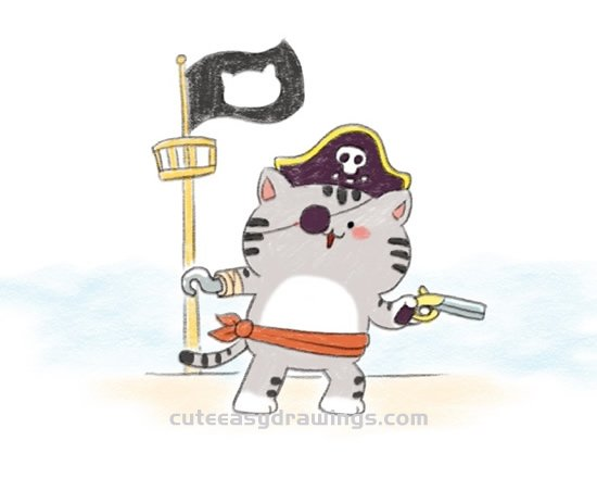 How To Draw A Pirate Captain Cat Step By Step Cute Easy Drawings