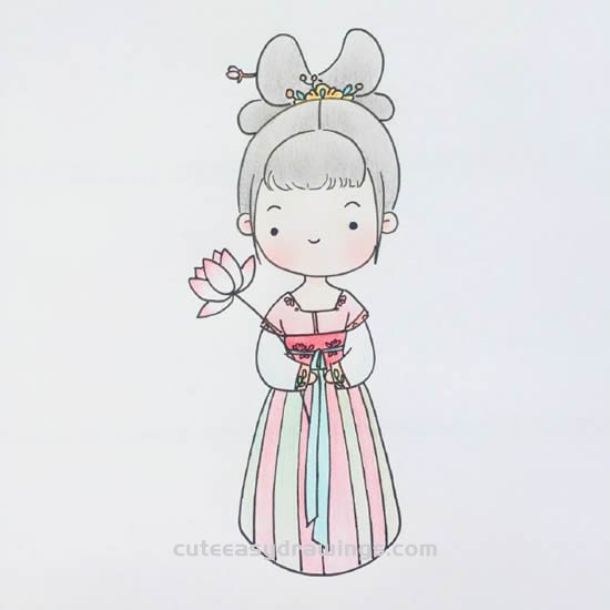 How To Draw A Girl Wearing Chinese Hanfu Step By Step Cute Easy