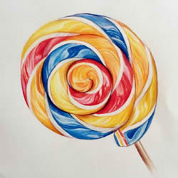 How to Draw a Rainbow Lollipop with Colored Pencils Step by Step