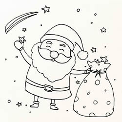 How to Draw Santa Claus with a Sack Step by Step