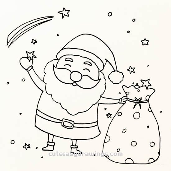 how to draw santa claus with a sack step by step cute easy drawings to draw santa claus with a sack step