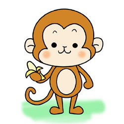 How to Draw a Little Monkey Eating Banana Step by Step
