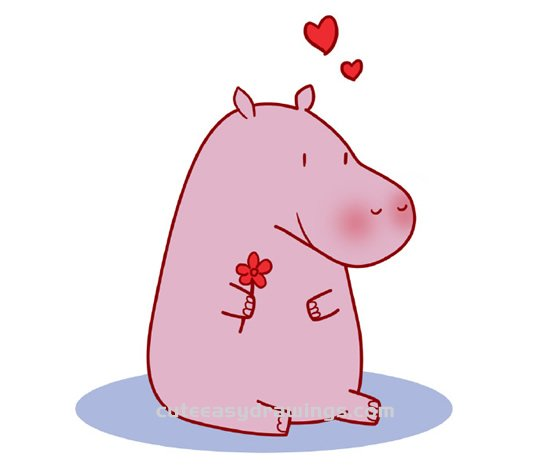 How to Draw a Hippo Showing Love Step by Step