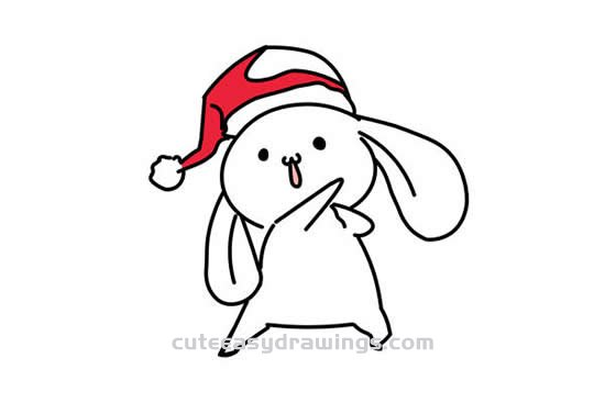 How to Draw a White Rabbit with a Christmas Hat Step by Step