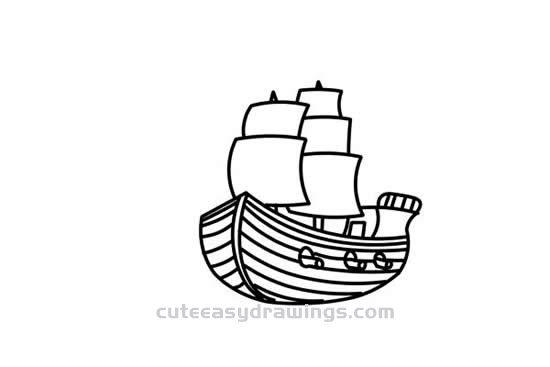 How To Draw A Pirate Ship Step By Step Cute Easy Drawings