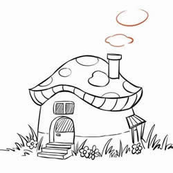 How to Draw a Mushroom House Step by Step