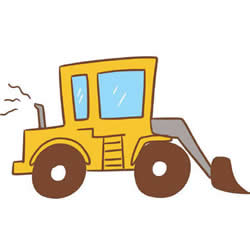 How to Draw a Cute Bulldozer Step by Step