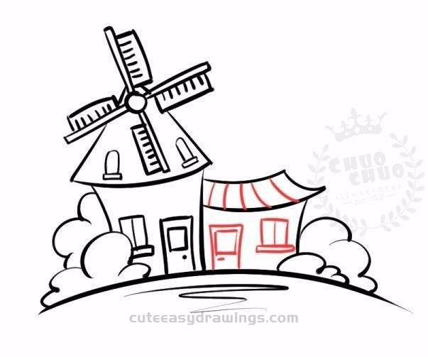 How to Draw a Cartoon Windmill House Step by Step