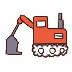 How to Draw a Cartoon Excavator Step by Step