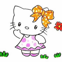 How to Draw Hello Kitty Saying Hello to Us Step by Step