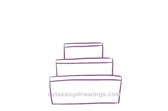 How to Draw a Three-tiered Birthday Cake Step by Step