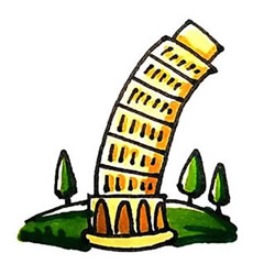 How to Draw the Leaning Tower of Pisa in Italy Step by Step
