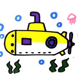 How to Draw a Submarine in the Water Step by Step