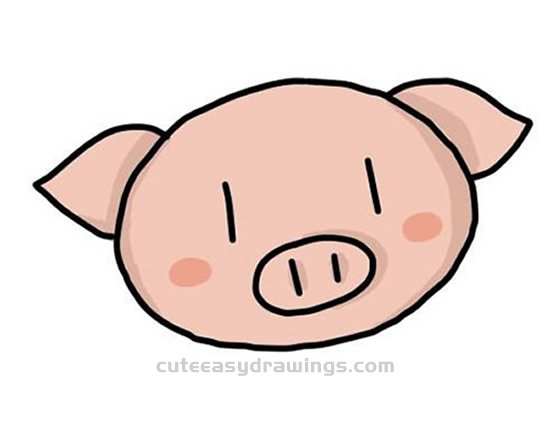 How To Draw A Cute Pig Head Step By Step Cute Easy Drawings