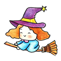How to Draw a Cute Little Witch Step by Step