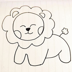 How to Draw a Smiling Lion Step by Step