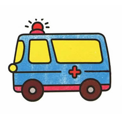 How to Draw a Driving Ambulance Step by Step