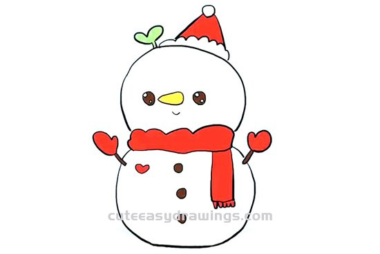 Cute Christmas Drawings.How To Draw A Cute Christmas Snowman Step By Step For Kids