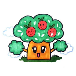 How to Draw a Cartoon Apple Tree Step by Step