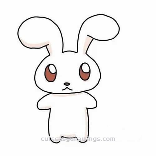 How To Draw A White Rabbit Step By Step For Kids Cute Easy Drawings