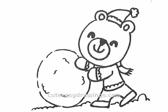 How to Draw a Bunny and Cub Playing Snowballs Step by Step