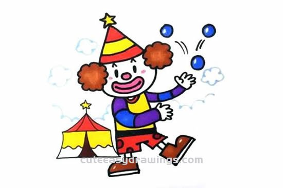 How To Draw A Circus Clown Step By Step For Kids Cute Easy Drawings