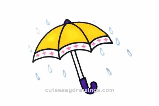 How To Draw A Umbrella Step By Step For Kids Cute Easy Drawings