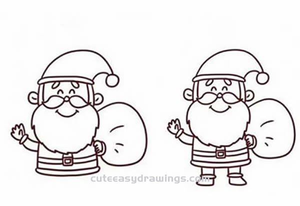 How to Draw Santa Claus Greeting Us Step by Step for Kids