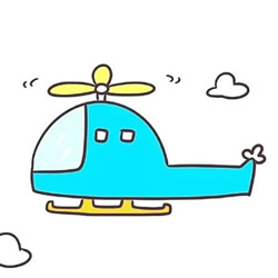 How to Draw a Helicopter Between White Clouds Step by Step