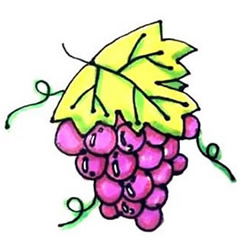 How to Draw a Bunch of Ripe Grapes Step by Step for Kids