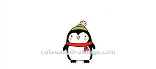 How to Draw a Penguin Wearing a Hat and Scarf Step by Step for Kids
