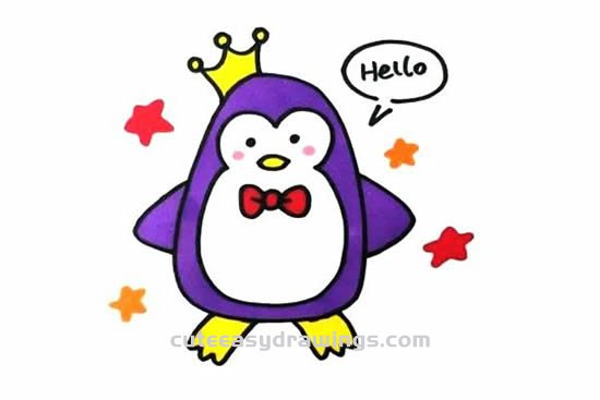How to Draw a Penguin Prince Step by Step for Kids