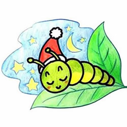 How to Draw a Sleeping Cartoon Caterpillar Step by Step for Kids