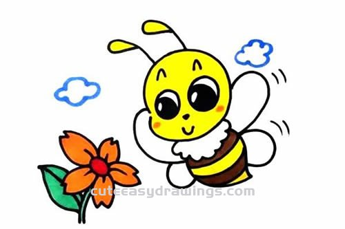 How to Draw a Bee Collecting Nectar Step by Step for Kids