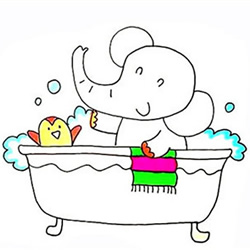 How to Draw a Bathing Baby Elephant Step by Step for Kids