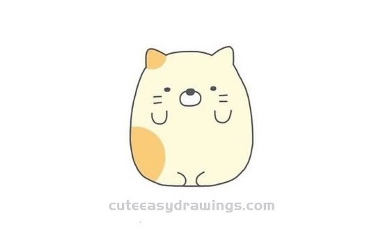 How To Draw A Fat Cat Step By Step For Kids Cute Easy Drawings