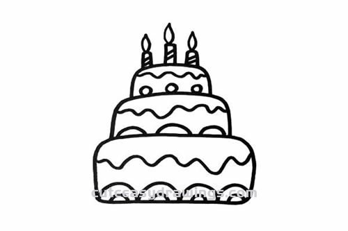 Awe Inspiring How To Draw A Three Tiered Birthday Cake Step By Step For Kids Funny Birthday Cards Online Alyptdamsfinfo