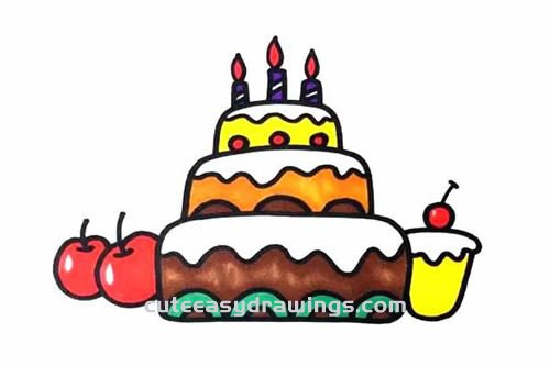 How to Draw a Three-Tiered Birthday Cake Step by Step for Kids