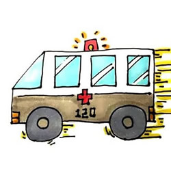 How to Draw a Driving Ambulance Step by Step for Kids