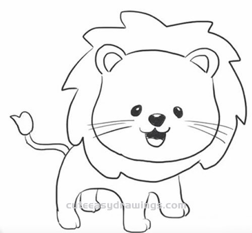 How To Draw A Cute Little Lion Step By Step For Kids Cute Easy Drawings Download 2,800+ royalty free lion outline vector images. how to draw a cute little lion step by