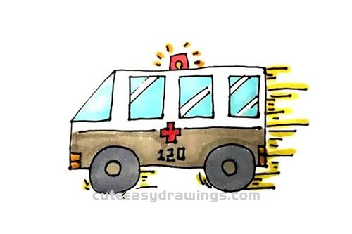 How to Draw a Driving Ambulance Step by Step for Kids ...