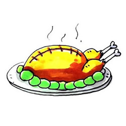 How to Draw a Plate of Roast Turkey Step by Step for Kids