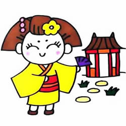 How to Draw a Japanese Girl Wearing a Kimono Step by Step for Kids