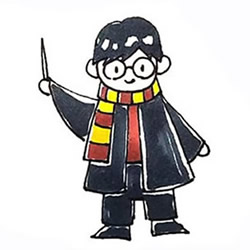 How to Draw Harry Potter Holding a Magic Wand Step by Step