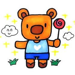 How to Draw a Cartoon Bear Holding a Lollipop Step by Step