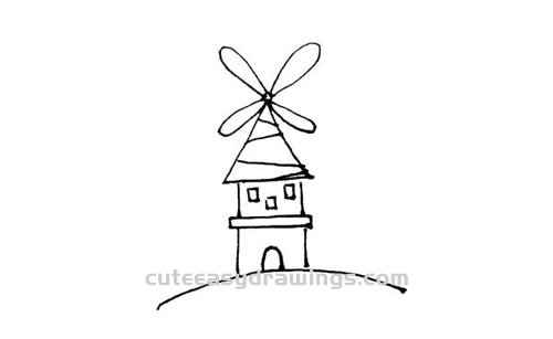 How to Draw a Dutch Windmill Step by Step for Kids