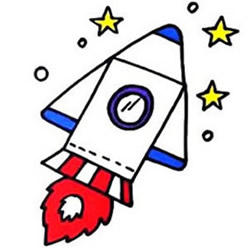 How to Draw a Lovely Flying Rocket Step by Step for Kids