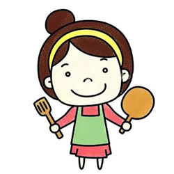 How to Draw a Mother Who is Ready to Cook Step by Step for Kids