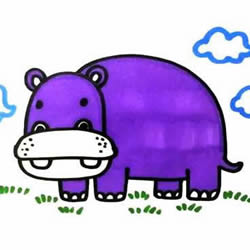 How to Draw a Cute Cartoon Hippo Step by Step for Kids