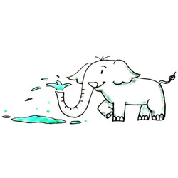 How to Draw a Elephant Playing with Water Step by Step for Kids